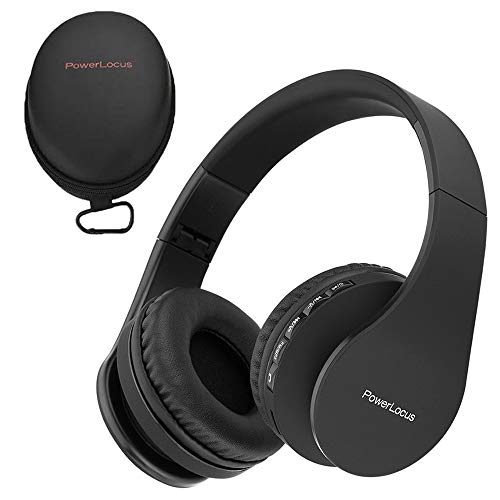 PowerLocus P1 – Auriculares Bluetooth inalambricos de Diadema Cascos Plegables, Casco Bluetooth con Sonido Estéreo con Conexión a Bluetooth Inalámbrico y Audio Cable para Movil, PC, Tablet - Negro