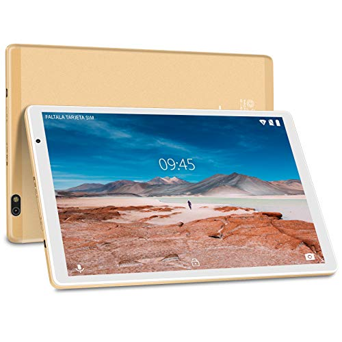Tablet 10 Pulgadas FACETEL Q3 Android 9.0 4GB RAM+64GB ROM, Tablets 5.0+8.0 MP HD la Cámara, Certificación Google gsm,1280*800 Full HD Display | Bluetooth | WiF | GPS | FM-Oro