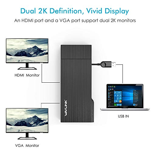 WAVLINK USB 3.0 Universal Docking Station, HDMI Dual 2K Display y Adaptador Gigabit Ethernet, Pantalla de Video y VGA a 2560x1440, Puerto USB 3.0, SD/TF Card Reader, para Windows, Mac, Android