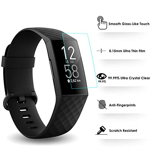 KIMILAR Pantalla Compatible con Fitbit Charge 4 / Charge 3 Protectores de Pantalla, Cobertura Completa Flexible Screen Protector para Charge 3 & 4 & Special Edition - Anti-Scratch, Cristalina