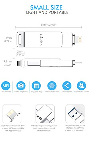 iDiskk [Certificado MFi] Lápiz Foto Stick 64GB para iPhone Unidad Flash USB para iPad Pendrive Memory Stick para iPhone Compatible con iPad iOS14 Almacenamiento en Mac y PC en iPhone