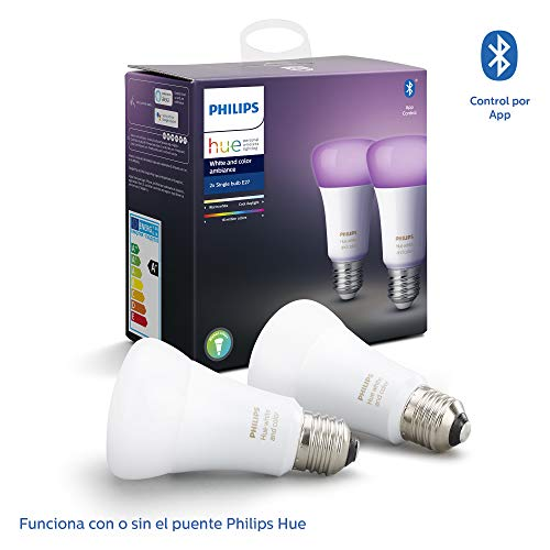 Philips Hue Pack de 2 Bombillas Inteligentes LED E27, con Bluetooth, Luz Blanca y Color, Compatible con Alexa y Google Home
