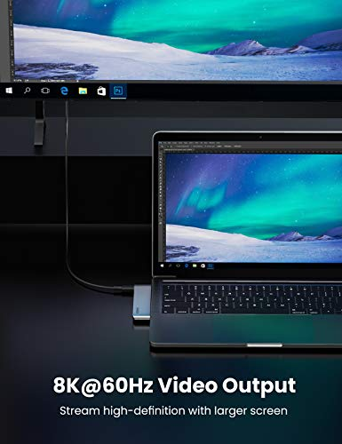 UGREEN HUB USB C 6 En 1, Adaptador Macbook Pro 13'' a 3 Puertos USB 3.0, Lector de Tarjeta SD TF, USB C Thunderbolt 3 100W Power Delivery para Macbook Pro 2020 2019 2018 16'' Macbook Air 2020 2019