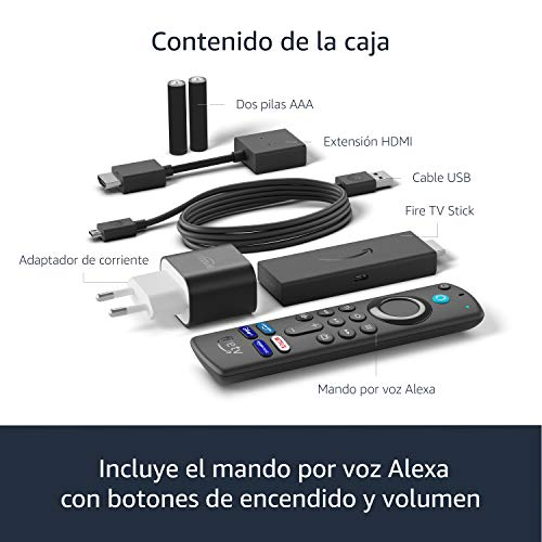 Fire TV Stick con mando por voz Alexa (incluye controles del TV), dispositivo de streaming HD, modelo de 2021