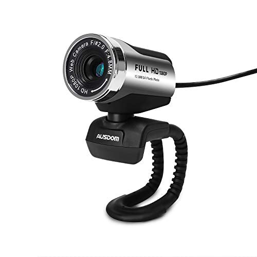 AUSDOM Webcam 1080P, AW615 de Alta Definición con Micrófono con Gran Apertura Compatible con Skype, MSN, Facebook, Google Hangouts, Webcam de USB Plug and Play, Web CAM para Ordenador, PC, etc
