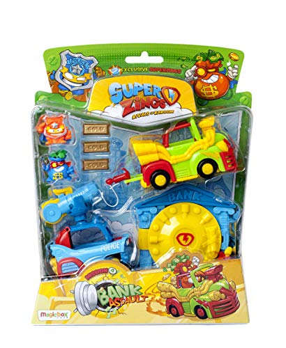 SuperZings - Serie 5 - Blíster Mission Bank Asault (PSZSB216IN40), Incluye 2 Figuras y 2 Vehículos