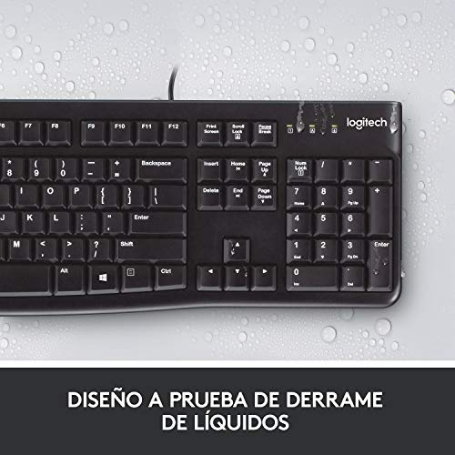 Logitech K120 Teclado con Cable Business para Windows, Tamaño Normal, Resistante a Líquido, Barra Espaciadora Curvada, PC/Portátil, Disposición QWERTY Español, color Negro