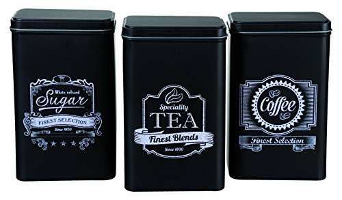 Out of the blue Finest Selection - Latas Rectangulares, de café, té y azúcar, Color Negro, Juego de 3