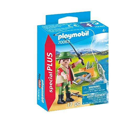 PLAYMOBIL- Special Plus Especial Pescador, Color carbón (70063)