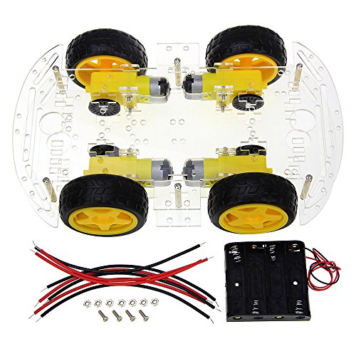DollaTek Smart Motor Robot Car Battery Box Kit de Chasis Speed Encoder para Arduino -Cuatro Llantas