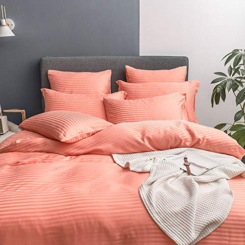 UMI Merryfeel Classic Satin Striped Duvet Cover Set,Brushed Soft Microfiber Bedding.(6 Sizes,12 Colours)(135x200+1x80x80cm,Orange)
