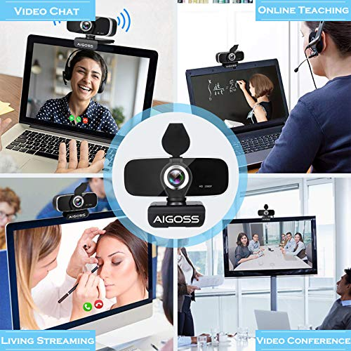 Aigoss Webcam Full HD 1080P con Micrófono Estéreo Cámara Web USB 2.0 para Videollamadas Panorámicas y Grabación Compatible con Windows, Mac y Android