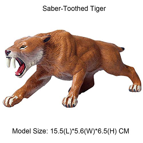 FLORMOON Tigre Dientes de Sable Figurines Realistic Juguete Tigre Animal Figure Early Educational Toys Science Project Christmas Birthday Gift for Kids