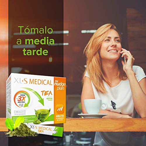 XLS Medical Tea - con Té verde matcha - Incluye tu plan personalizado Nudge durante 12 semanas - Tratamiento para 1 mes (90 sticks)