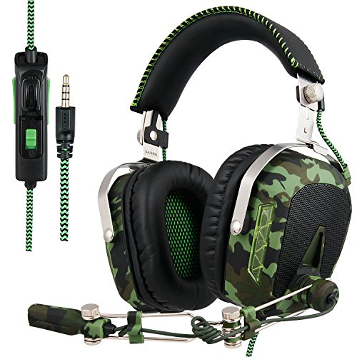 SADES actualizado Gaming Headset SA926T Auriculares PS4 estéreo Xbox One Auriculares Gaming con micrófono para PS4 / Xbox One/PC/Mac/Smart Phone/iPhone/iPad (Ejército Verde)