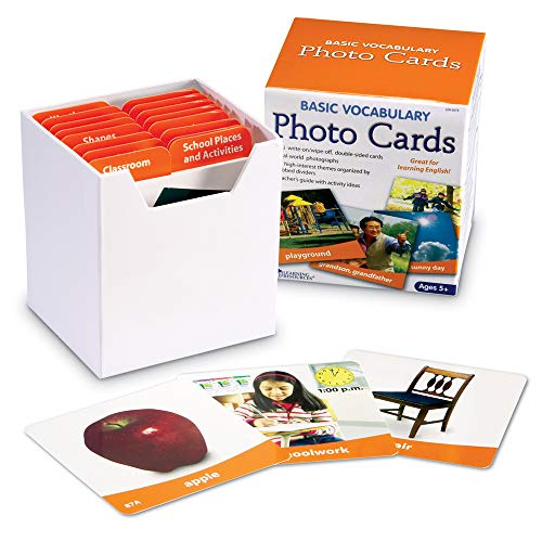 Learning Resources Ltd- Tarjetas fotográficas con Vocabulario básico, Color (LER6079)