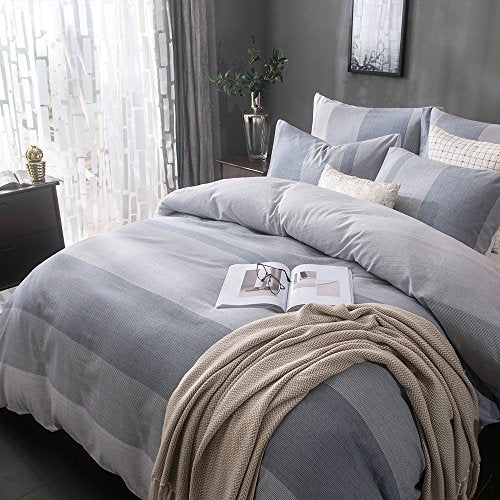 UMI. Essentials 100% Cotton Yarn Dyed Duvet Cover Set with One Pillow Case,155x200+1x80x80cm