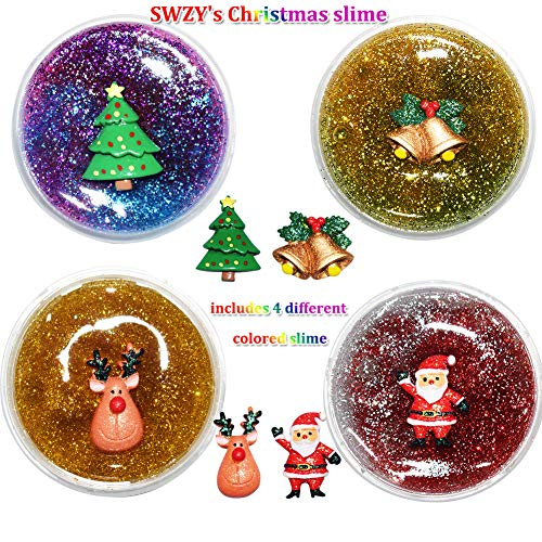 SWZY Christmas Slime Kit, Fluffy Slime Toy con Christmas Christmas Reindeer Christmas Tree and Christmas Bell, Paquete de 4