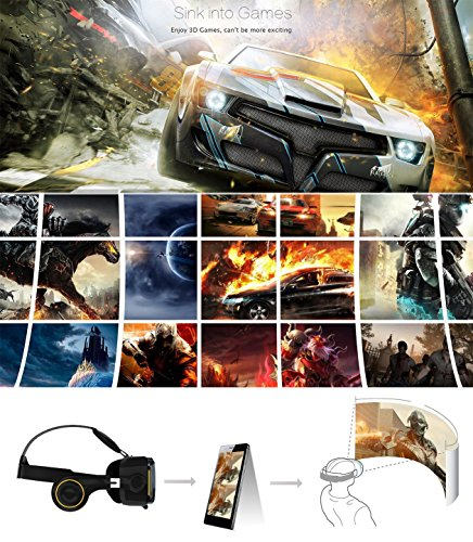 VR Hi-SHOCK Virtual Reality VR Set Headset / Bluetooth Gamepad / controlador/VR Bundle Gear para Android smartphones. 360 grados vídeos y SBS vídeos en 3d vr Ver