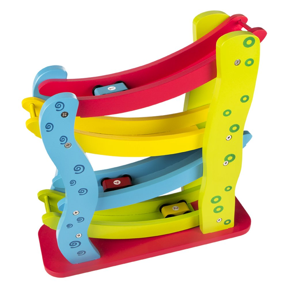 WOOMAX - Roller de madera con 4 coches (ColorBaby 42136)