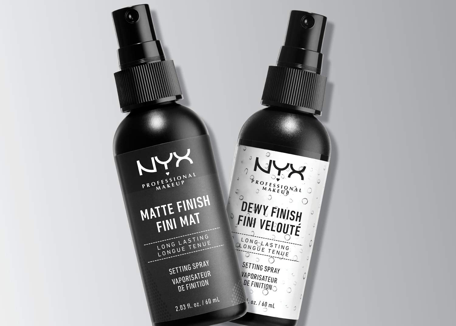 NYX Professional Makeup Spray fijador Makeup Setting Spray, Larga duración, Ligero, Fórmula vegana, Acabado Dewy (hidratado), Pack doble, 60 ml