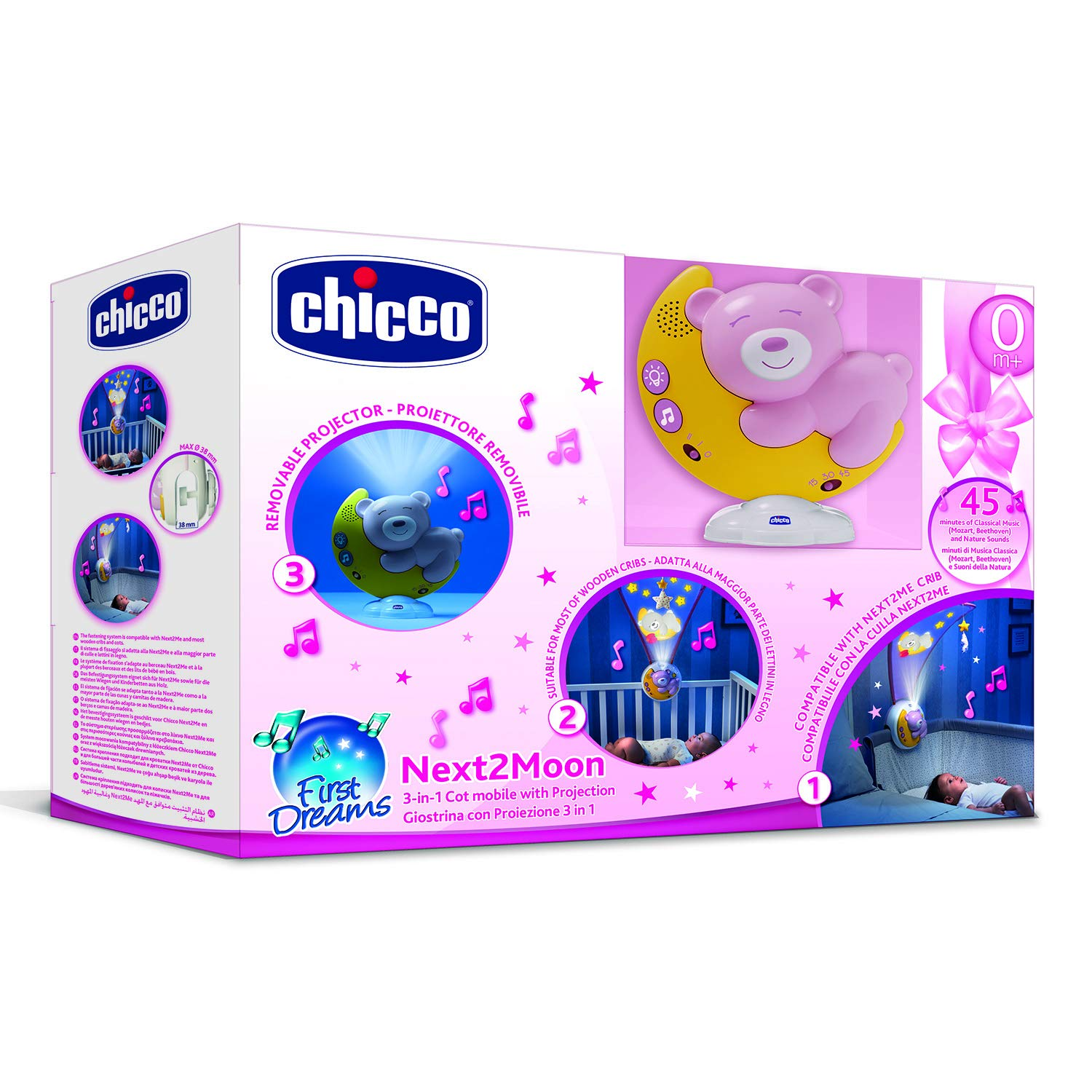 Chicco Next2moon - Proyector de cuna con luces y sonidos, móvil, panel y carrusel desmontable, color rosa