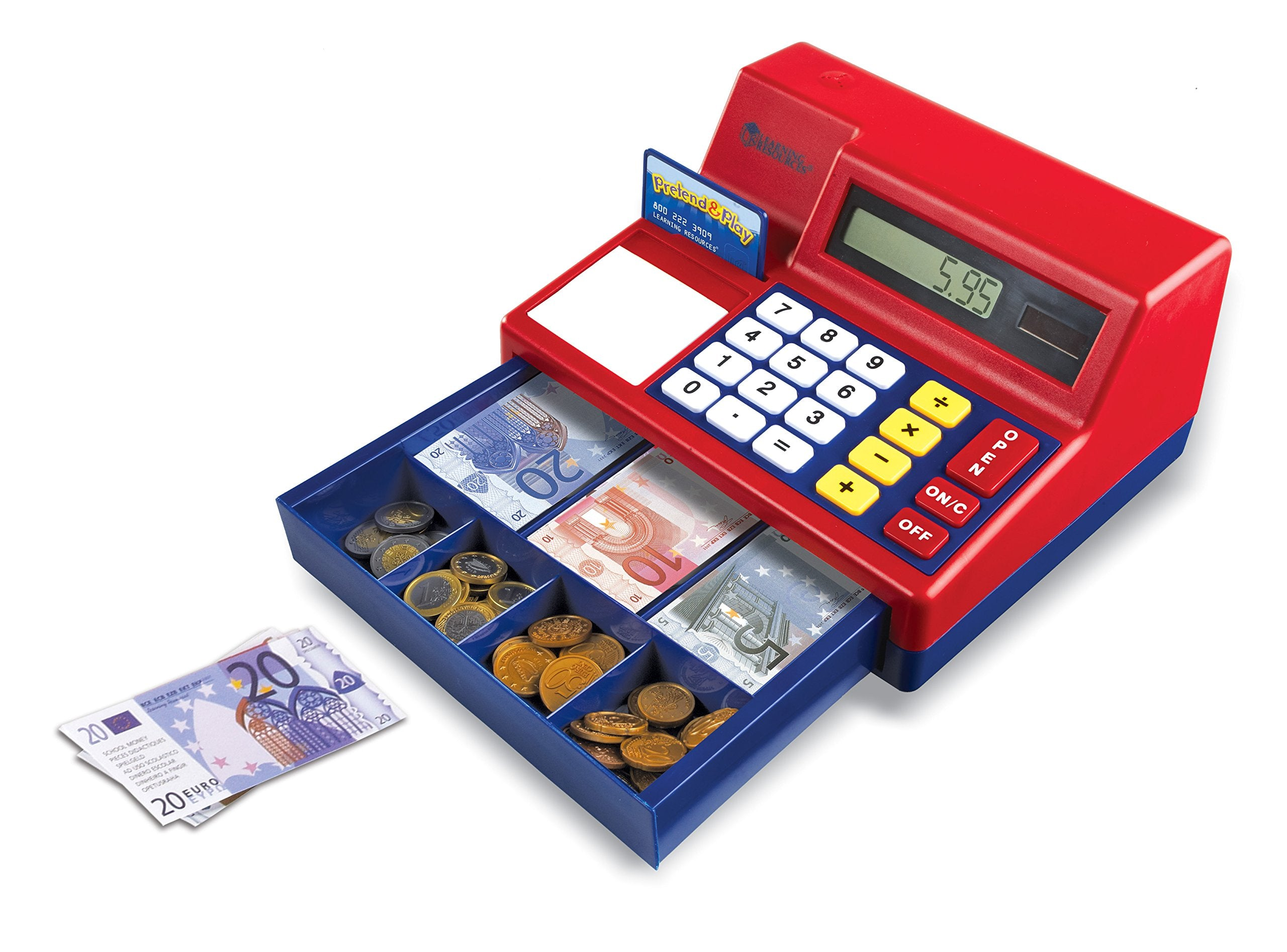Learning Resources- Caja registradora calculadora con Dinero del Reino Unido de Juguete Pretend & Play, Color (LSP2629-EUR)