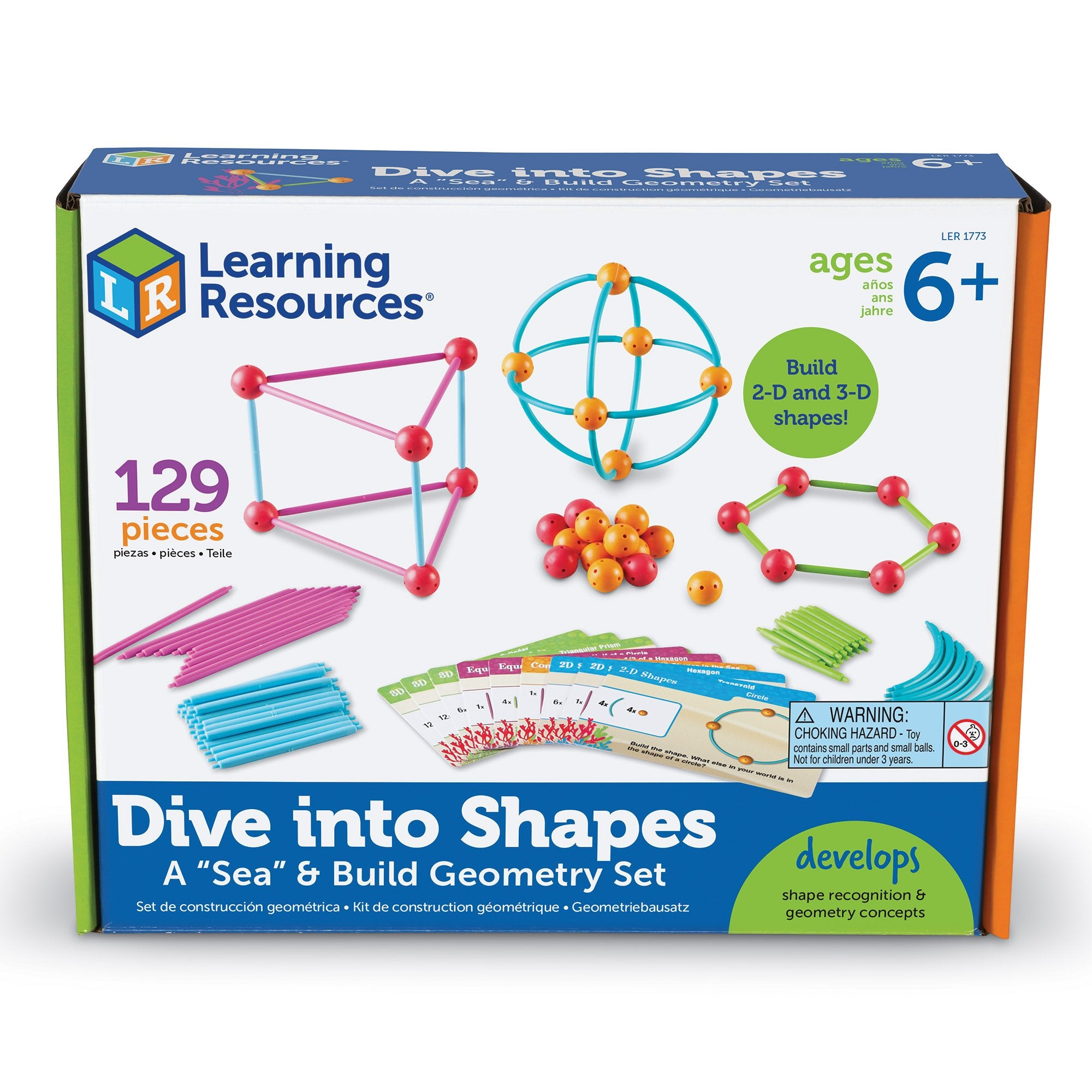 Learning Resources- Dive into Shapes Set de geometría Marino para Construir, Color (LER1773)