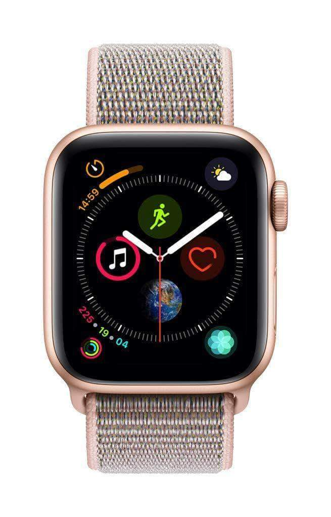 Amazon Apple Watch Series 4 (GPS + Cellular) con caja de 40 mm de aluminio en oro y correa Loop deportiva rosa arena
