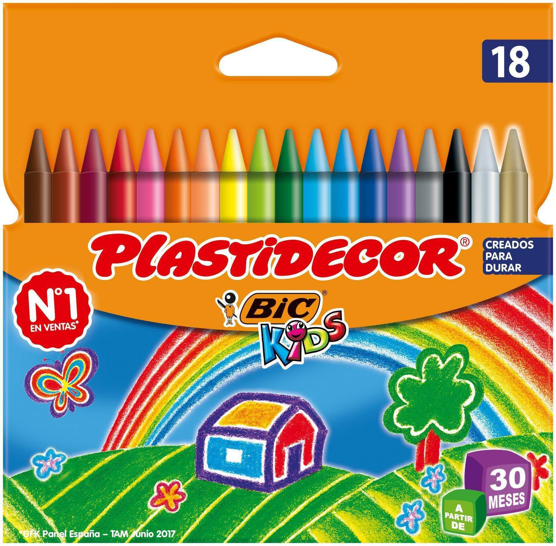 Amazon BIC Kids Plastidecor - Blíster de 18 unidades, ceras para colorear, colores surtidos