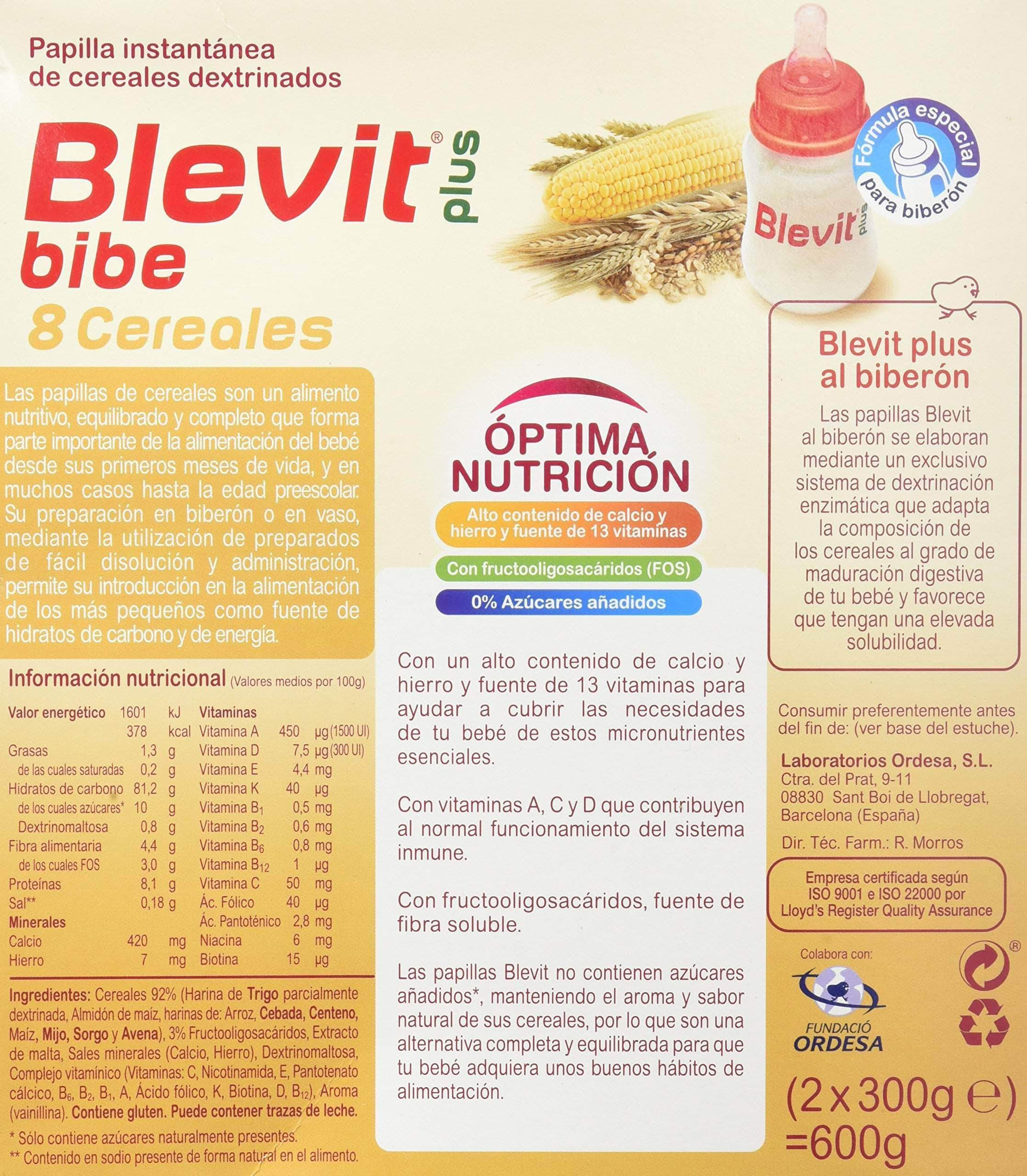 Amazon Blevit Plus Bibe 8 Cereales para Bebé - 2 de 300 g