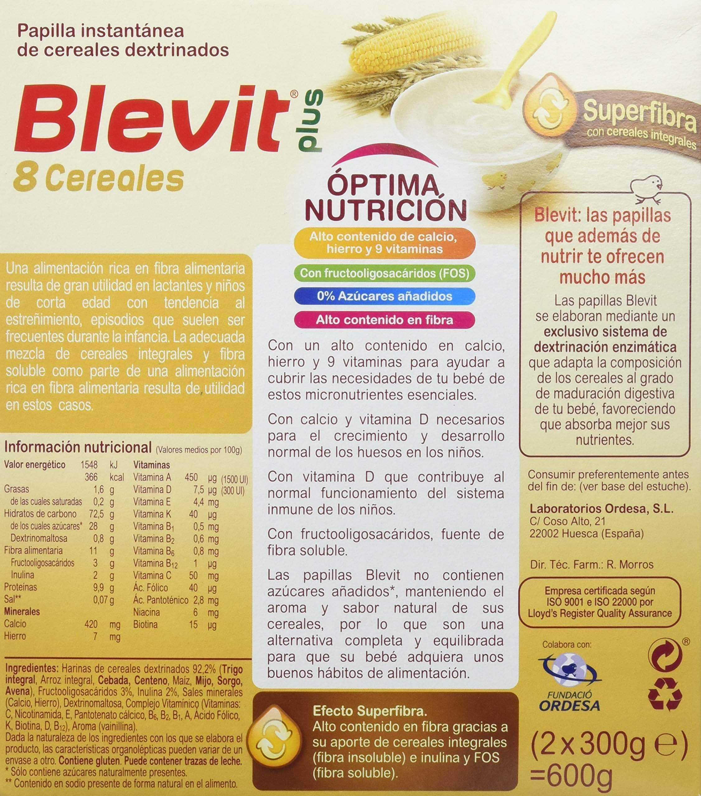 Amazon Blevit Plus Superfibra 8 Cereales 600 gr