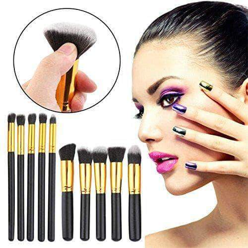 Amazon Hosaire 10 PCS cosméticos Cepillo de Maquillaje cepillos Set Foundation Powder Eyeshadow(Dorado)