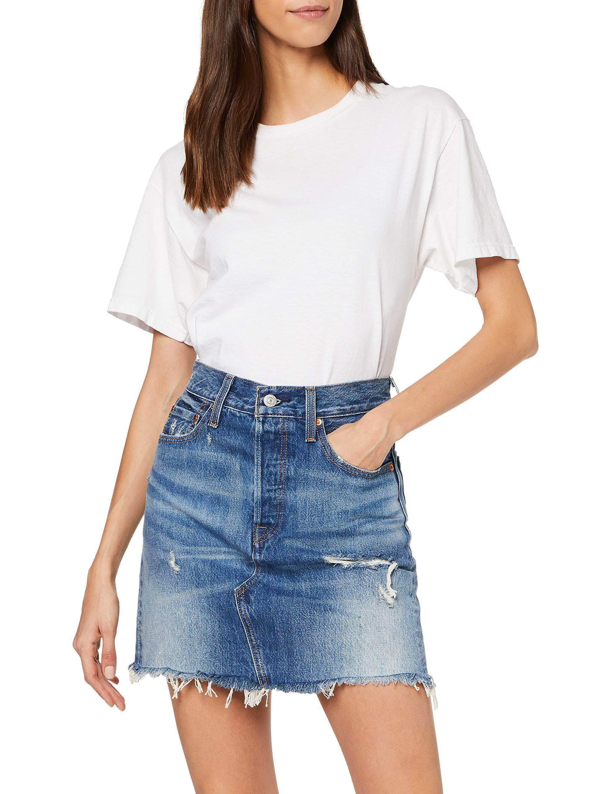Amazon Levi's HR Decon Iconic BF Skirt Falda, Azul (High Plains 0011), Talla Única (Talla del Fabricante: 27) para Mujer