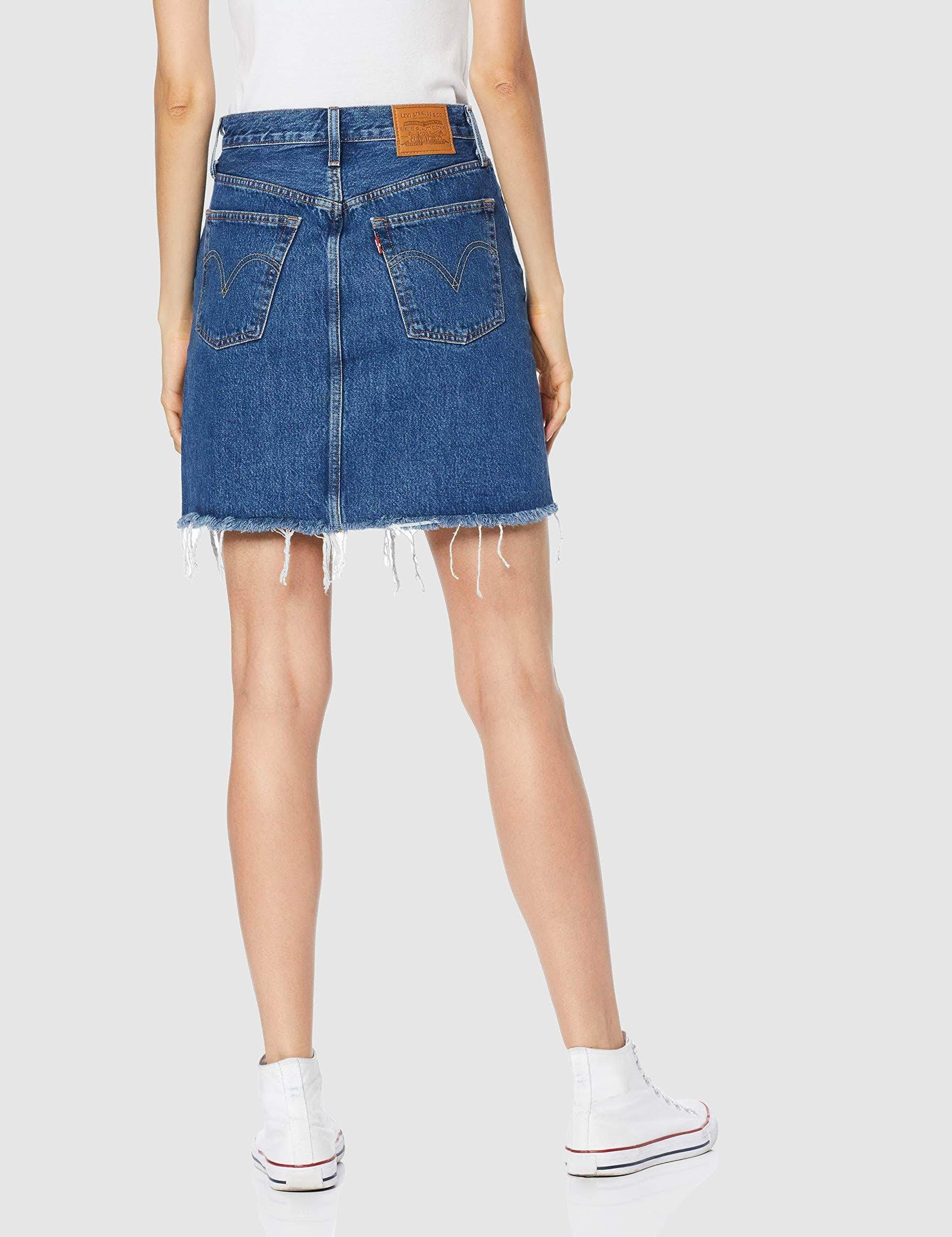 Amazon Levi's HR Decon Iconic BF Skirt Falda, Azul (Meer In The Middle 0009), Talla única (Talla del Fabricante: 27) para Mujer