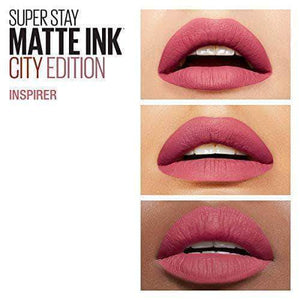 AmazonMaybelline New York Barra de Labios Mate Superstay Matte Ink City Edition, Tono 125 Inspirer - mamyka- moda infantil