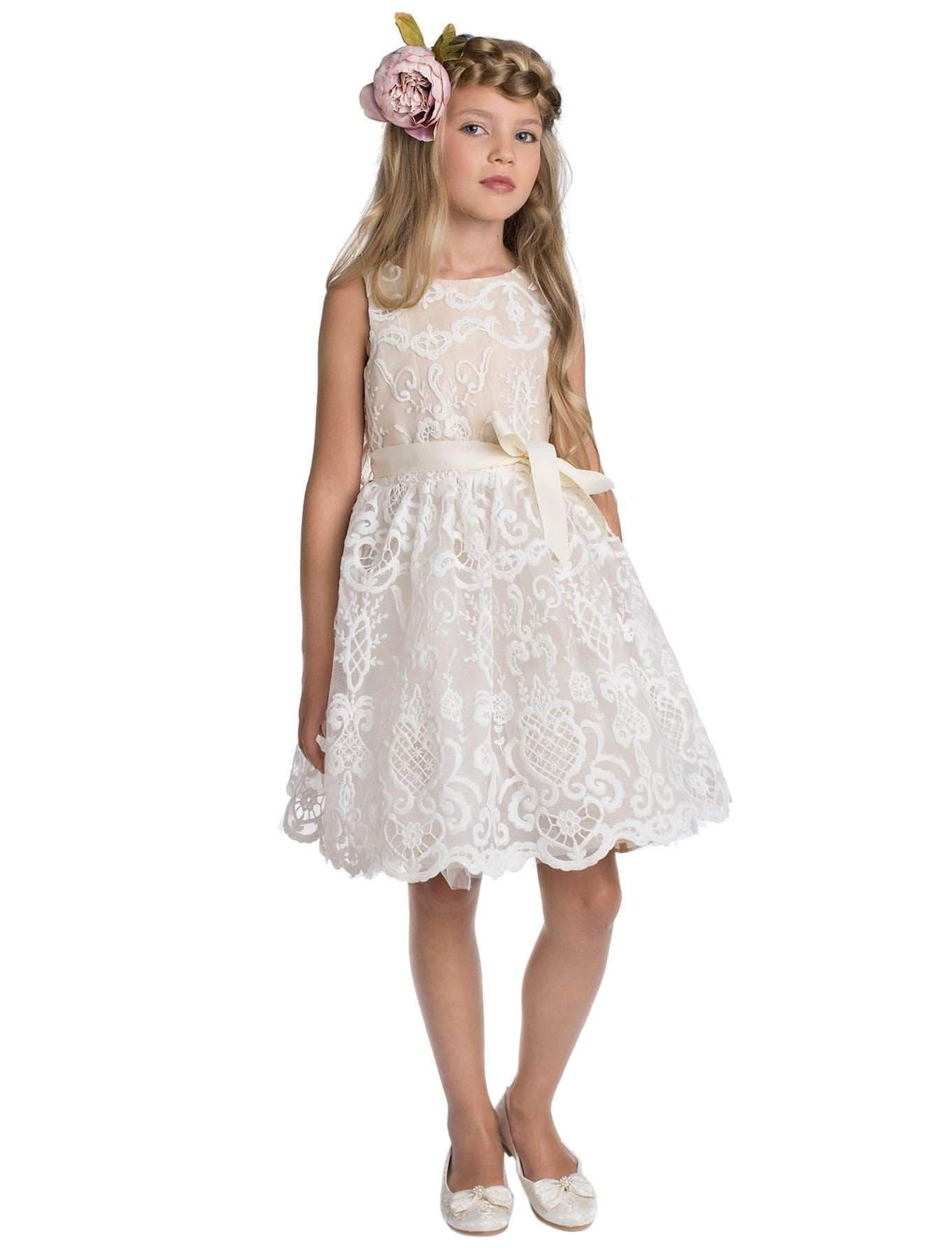 Amazon Paisley of London - Vestido - para niña Beige champán 2-3 Años