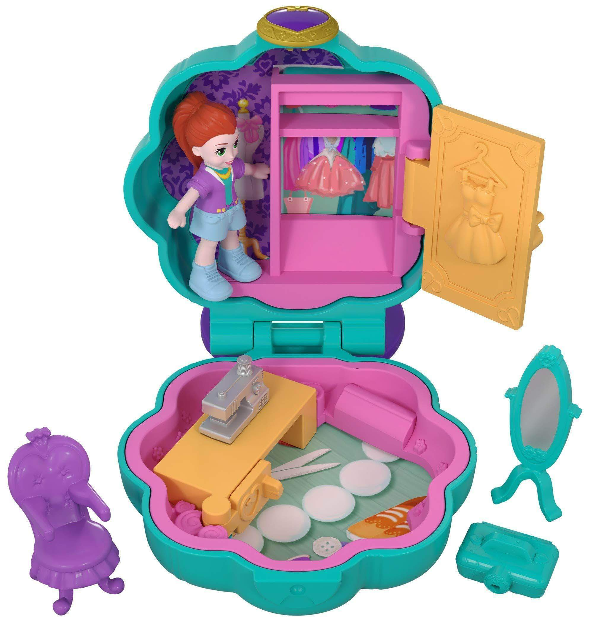 Amazon Polly Pocket Mini cofre estudio de moda, muñeca con accesorios (Mattel FRY31)