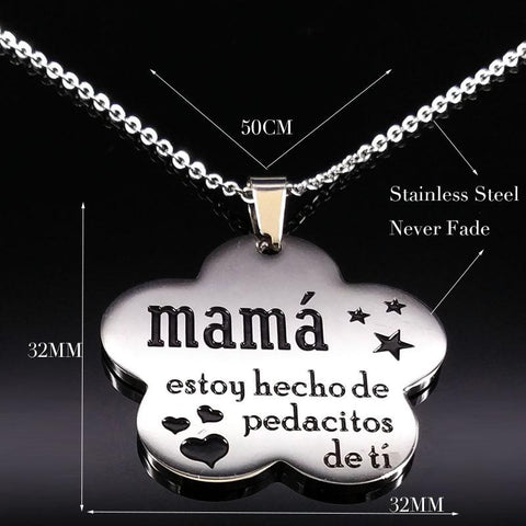 "Image of Colgante de acero inoxidable con cadena "" LA MEJOR MAMÁ"" 