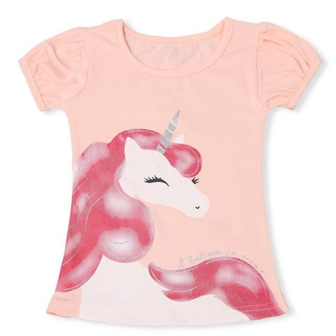 Image of Unicorn T-Shirt for Girls Summer Clothing Fashion Boys Cartoon Tees Unisex Cartoon Short Sleeves Tops for Kids 3 5 8 Years camiseta mamyka- moda infantil as photo 2 3T
