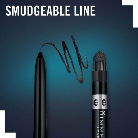 Image of Amazon Rimmel London Exaggerate, Lápiz de Ojos Waterproof Negro - 0.28 gr
