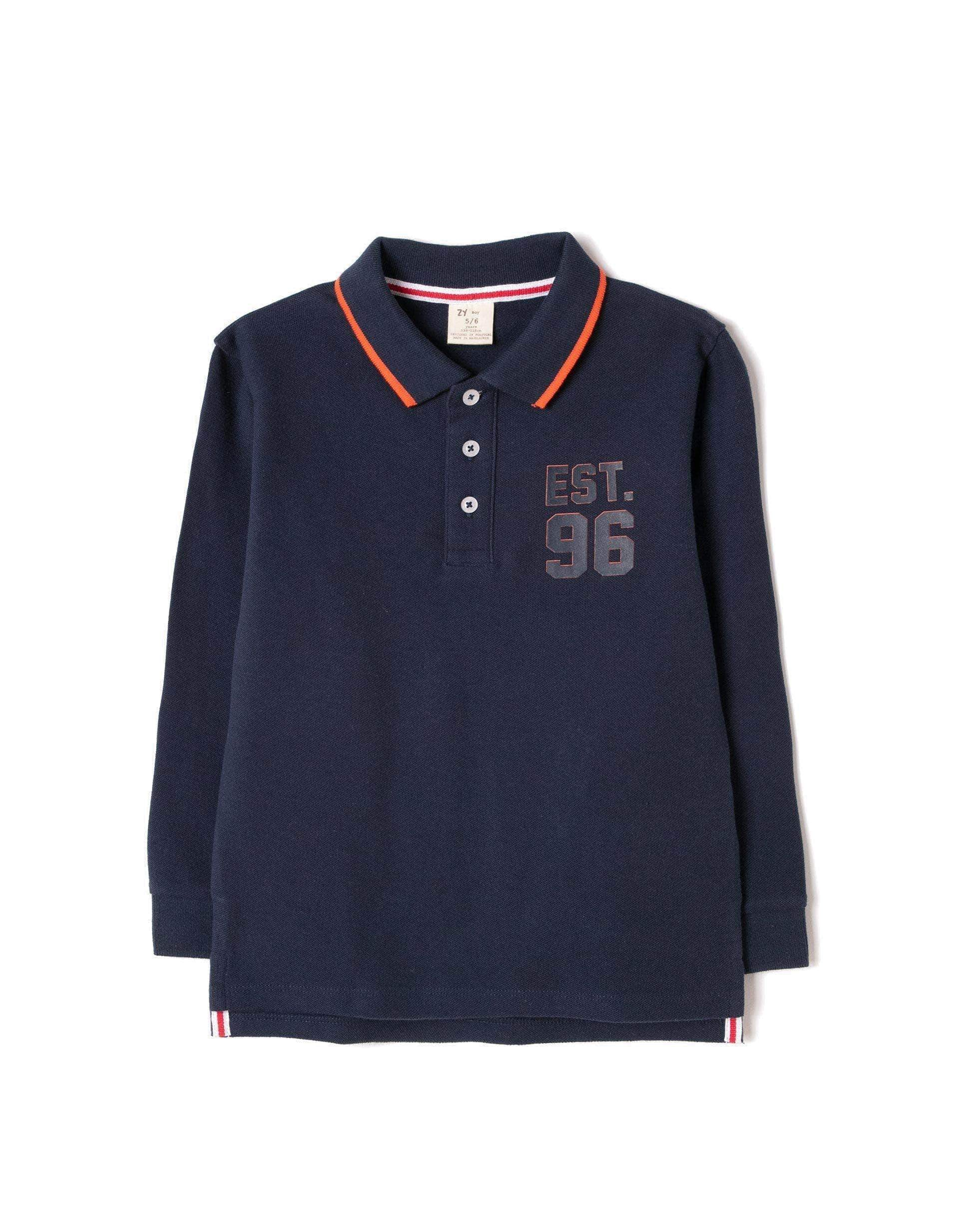Amazon ZIPPY Polo de Manga Larga, Azul (Dress Blue 19/4024 TC 185), 10 años (Tamaño del Fabricante:9/10) para Niños