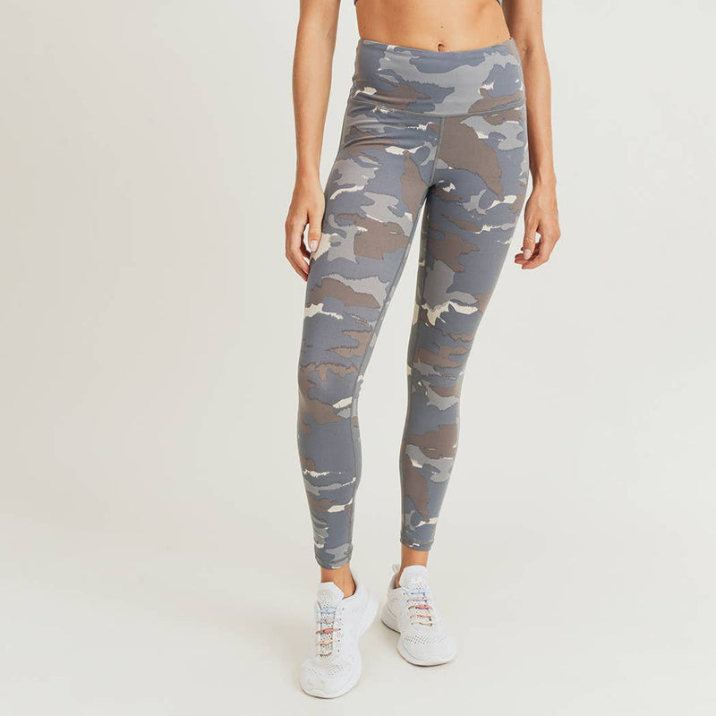 Blue Tundra Camo Highwaist Leggings-Athleisure-Alina and the Sea