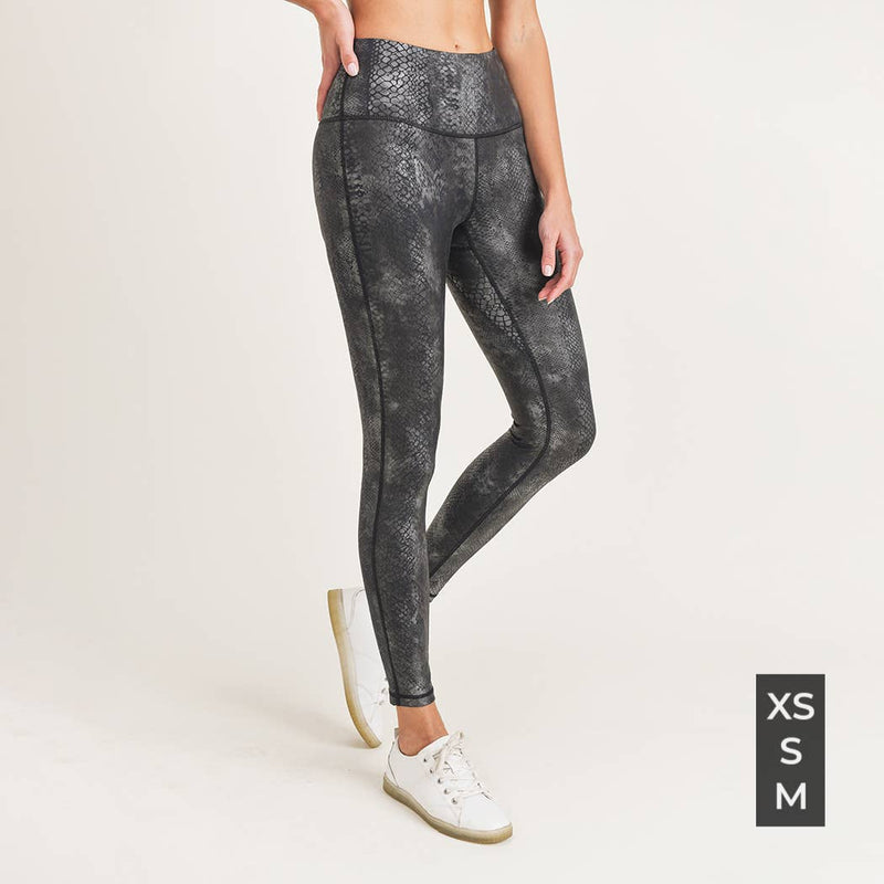 B Black Grey Snake Foil Print Highwaist Leggings-Athleisure-Alina and the Sea