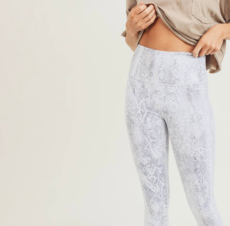 Silver Foil Snake Print Highwaist Leggings-Athleisure-Alina and the Sea