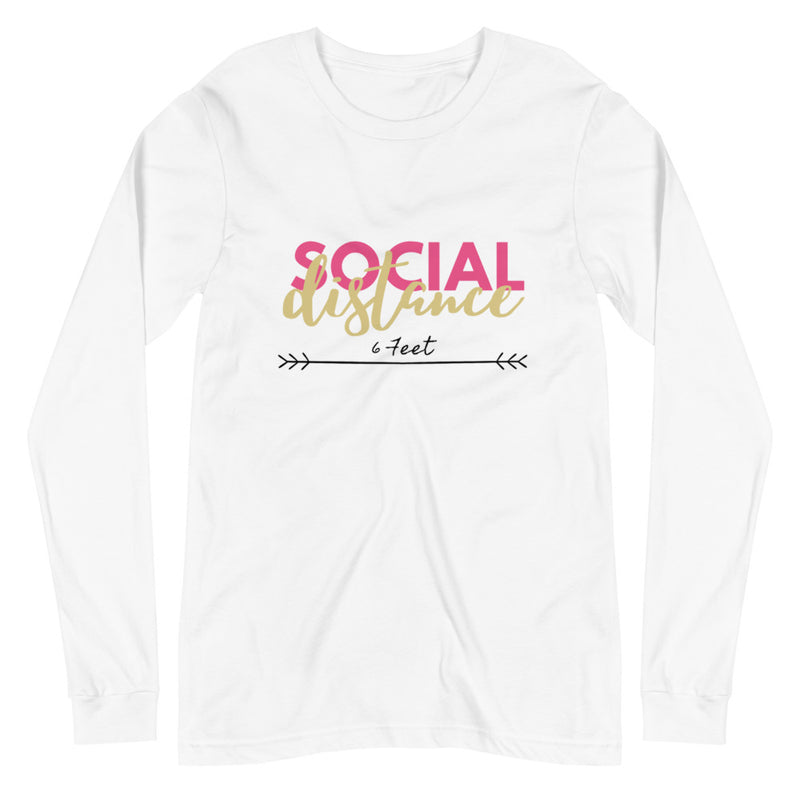 Social Distance White Eco-Friendly Long Sleeve Tee-Alina and the Sea