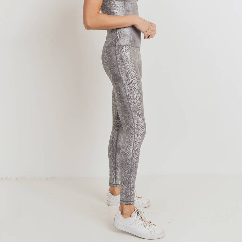 Silver Snake Print Highwaist Leggings-Alina and the Sea