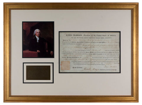 James Madison Signed Land Grant