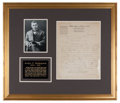 Booker T Washington Signed Letter