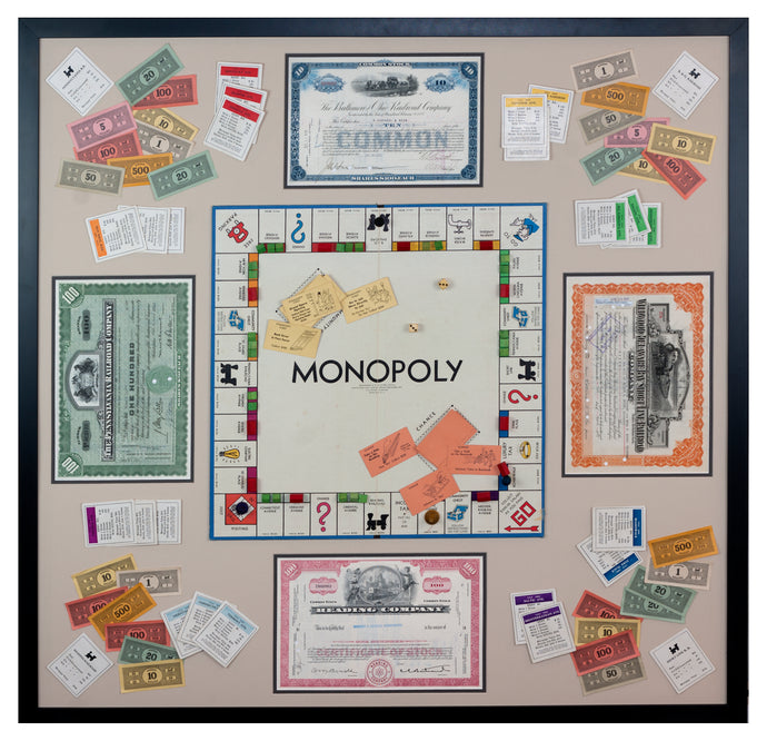 Framed Vintage Monopoly Game with Railroad Stock Certificates